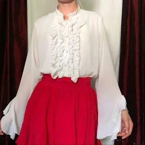 Vintage Adolfo silky ruffle button down blouse